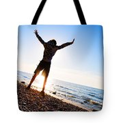 Happiness In The Beach Scenery Tote Bag