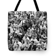 Happy Baseball Fans In The Bleachers At Yankee Stadium. Tote Bag by Underwood Archives