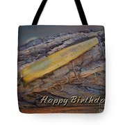 Happy Birthday Greeting Card - Vintage Atom Saltwater Fishing Lure Tote Bag