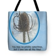 Happy Birthday Greetings - Dried Teasel Thistle Flower Head Tote Bag