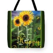 Happy Birthday Happy Sunflowers Couple Tote Bag