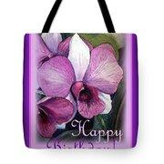 Happy Birthday Orchid Design Tote Bag