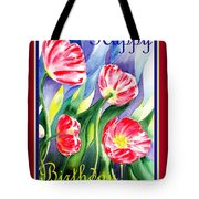 Happy Birthday Pink Poppies Tote Bag