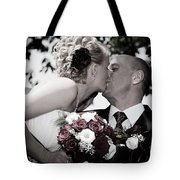 Happy Bride And Groom Kissing Tote Bag