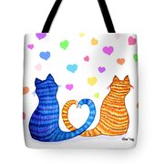 Happy Cats And Hearts Tote Bag