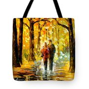 Happy Couple - Palette Knife Oil Painting On Canvas By Leonid Afremov Tote Bag