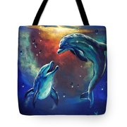 Happy Dolphins Tote Bag by Marco Antonio Aguilar