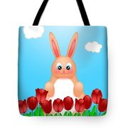 Happy Easter Bunny Rabbit On Field Of Tulips Flowers Tote Bag