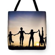 Happy Group Of People Friends Family Together Tote Bag