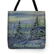 Happy Holidays - Snowy Winter Evening Tote Bag