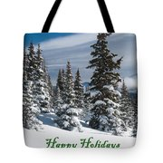 Happy Holidays - Winter Trees And Rising Clouds Tote Bag
