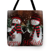 Happy Holidays - Christmas - Snowman Collection - Greeting Cards Tote Bag