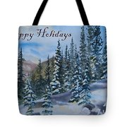 Happy Holidays Forest And Mountains Tote Bag