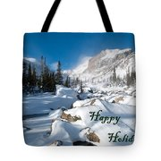 Happy Holidays Snowy Mountain Scene Tote Bag
