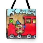Happy Holidays Train Tote Bag