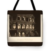 Happy Holidays With Colosseum Tote Bag