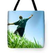 Happy Man On The Summer Field Tote Bag