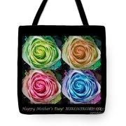 Happy Mothers Day Hugs Kisses And Colorful Rose Spirals Tote Bag
