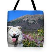 Happy Mountain Dog Tote Bag
