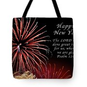 Happy New Year Psalm 123-3 Tote Bag