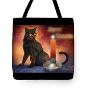Happy Samhain Kitten And Candle Tote Bag