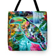 Happy Toucan Tote Bag by Alixandra Mullins