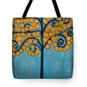 Happy Tree In Blue And Gold Tote Bag