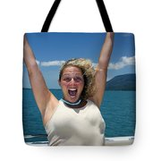 Happy Woman On Holiday  Tote Bag