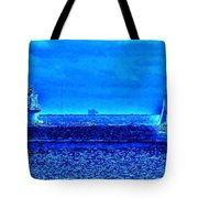 Harbor Of Refuge Lighthouse And Sailboat Abstract Tote Bag