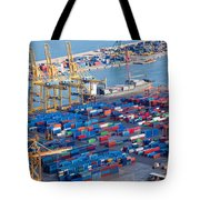 Harbor With Lots Of Cargo Tote Bag