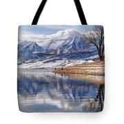 Hardy Fishermen Deer Creek Reservoir And Timpanogos In Winter Tote Bag
