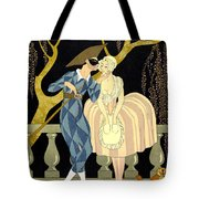 Harlequin's Kiss Tote Bag by Georges Barbier
