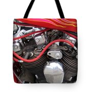 Harley Close-up Pink And Red Flames Tote Bag