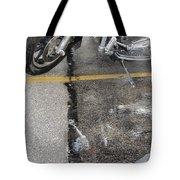 Harley Close-up Rain Reflections Tall Tote Bag