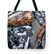Harley Close-up Skull Flame  Tote Bag