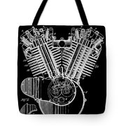 1923 Harley Davidson Black And White Engine Patent Tote Bag