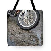 Harley Reflection In Rain  Tote Bag