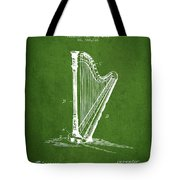 Harp Music Instrument Patent From 1901 - Green Tote Bag
