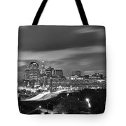 Hartford Skyline At Night Bw Black And White Tote Bag
