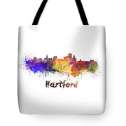 Hartford Skyline In Watercolor Tote Bag