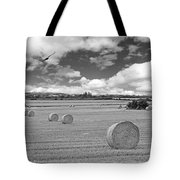 Harvest Fly Past Black And White Square Tote Bag