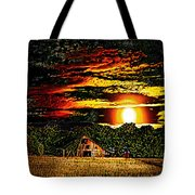 Harvest Moon And Late Barn Tote Bag