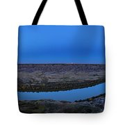 Harvest Moon Rising Over The Red Deer Tote Bag
