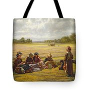 Harvesters Resting In The Sun, Berkshire, 1865 Oil On Canvas Tote Bag