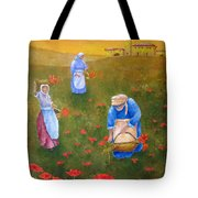 Harvesting Poppies In Tuscany Tote Bag