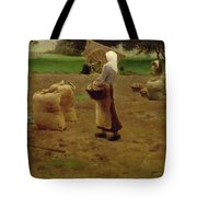Harvesting Potatoes Oil On Canvas Tote Bag
