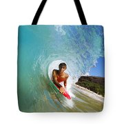 Hawaii, Maui, Makena - Big Beach, Boogie Boarder Riding Barrel Of Beautiful Wave Along Shore. Tote Bag