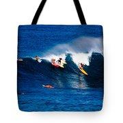 Hawaii Oahu Waimea Bay Surfers Tote Bag by Anonymous