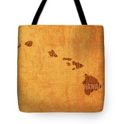 Hawaii Word Art State Map On Canvas Tote Bag