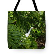 Hawaiian Garden Visitor - A Bright White Egret In The Lush Greenery Tote Bag